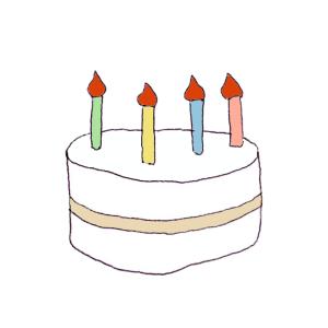 ケーキのボールペンイラスト