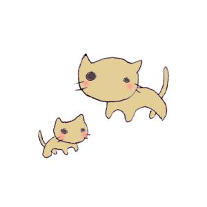 猫(親子)のボールペンイラスト