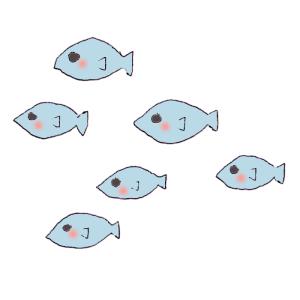 魚の群れのボールペンイラスト