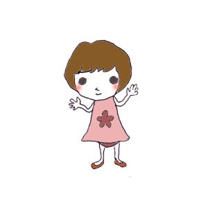 女の子のボールペンイラスト02