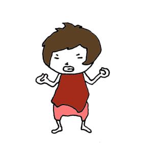 怒る女の子のボールペンイラスト02