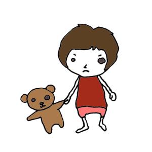 ぬいぐるみと女の子のボールペンイラスト02