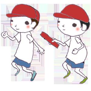 運動会(リレー)のボールペンイラスト02