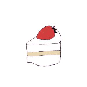 ショートケーキのボールペンイラスト