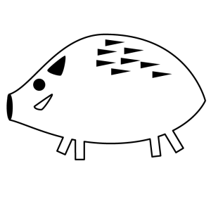 猪の白黒イラスト