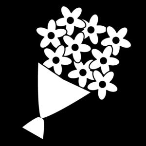 花束の白黒イラスト