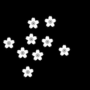 桜の枝の白黒イラスト