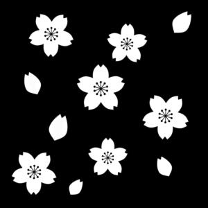 桜の花の白黒イラスト04