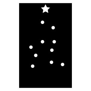 クリスマスツリーの白黒イラスト
