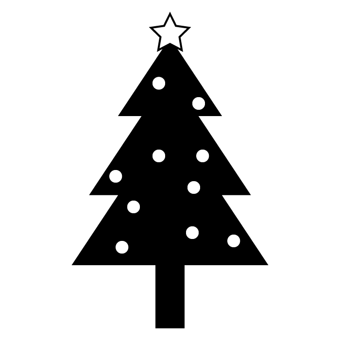 クリスマスツリーの白黒イラスト 無料 イラストk