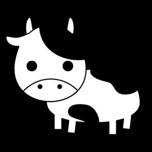 牛の白黒イラスト