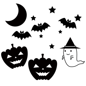 ハロウィンの白黒イラスト