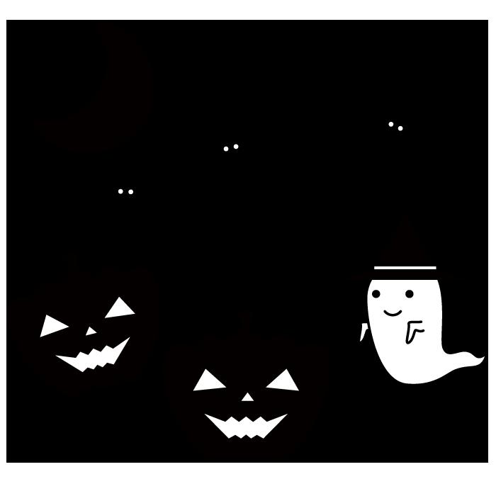 ハロウィンの白黒イラスト 無料 イラストk