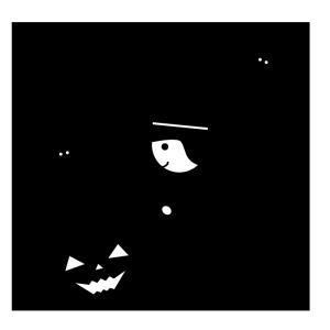 ハロウィンの白黒イラスト02