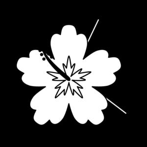ハイビスカスの白黒イラスト