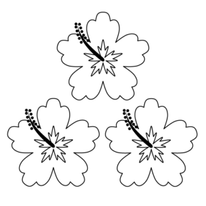 ハイビスカスの白黒イラスト03