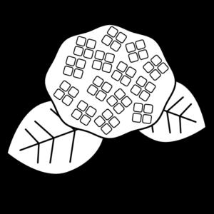 あじさいの白黒イラスト03