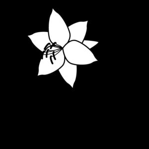 百合の白黒イラスト