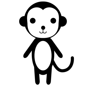 猿の白黒イラスト