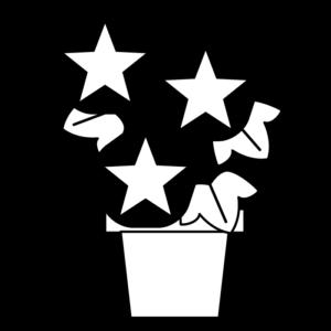 朝顔(植木鉢)の白黒イラスト