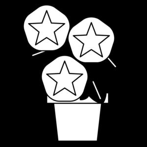 朝顔(植木鉢)の白黒イラスト02