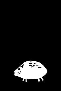 年賀状-2019年-白黒テンプレート(猪)