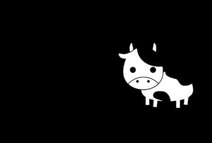 年賀状-2021年-白黒テンプレート(牛)横
