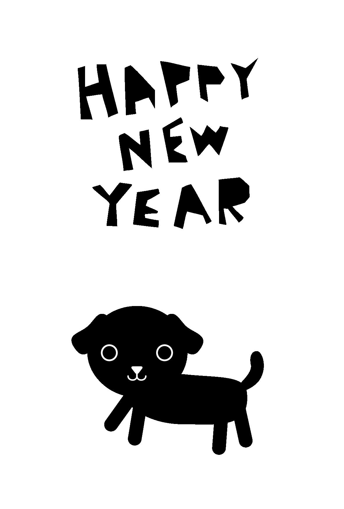 年賀状-2018年-白黒テンプレート(犬)02 <無料> | イラストk