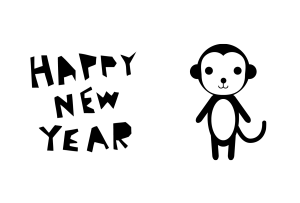 年賀状-2016年-白黒テンプレート(猿)