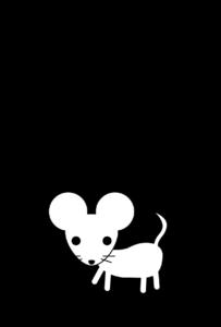 年賀状-2020年-白黒テンプレート(ねずみ)