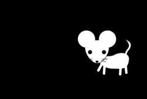 年賀状-2020年-白黒テンプレート(ねずみ)横