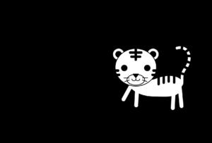 年賀状-2022年-白黒テンプレート(虎・寅)横