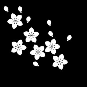 桃の花(枝)の白黒イラスト