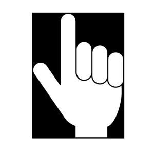 指さし(表)の白黒イラスト