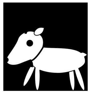 トナカイの白黒イラスト
