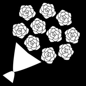 バラの花束の白黒イラスト