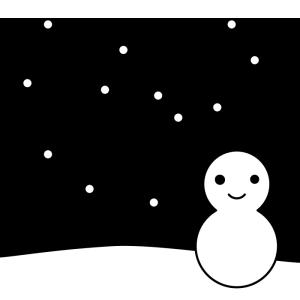 雪と雪だるまの白黒イラスト