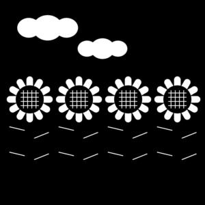 ひまわり畑の白黒イラスト