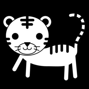 虎の白黒イラスト