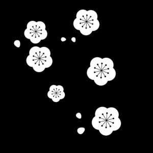 梅の枝の白黒イラスト