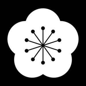 梅の花の白黒イラスト02