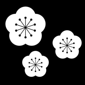 梅の花の白黒イラスト04