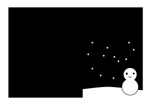 年賀状-白黒テンプレート(雪と雪だるま)