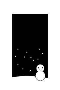 寒中見舞い-白黒テンプレート(雪と雪だるま)