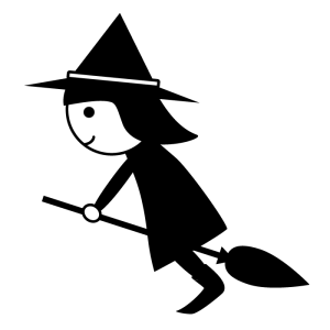 魔女の白黒イラスト
