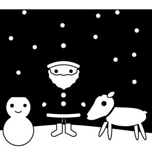 クリスマスの白黒イラスト