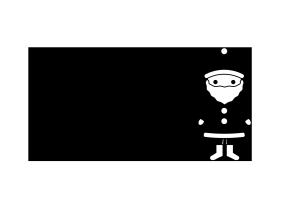 クリスマスカード-白黒テンプレート(サンタクロース)