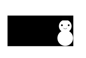 クリスマスカード-白黒テンプレート(雪だるま)