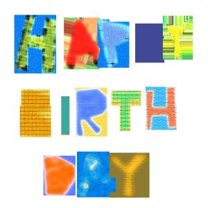 HAPPY BIRTHDAYのコラージュ風文字イラスト