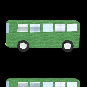 バス(緑)のコラージュ風イラスト